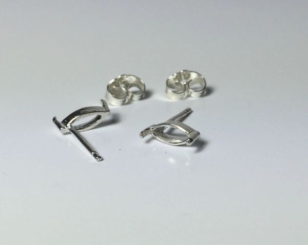 Two Sterling Silver Marquise (2-Prong) Wire Pre-Notched Earring Settings (4x2mm-6x3mm)