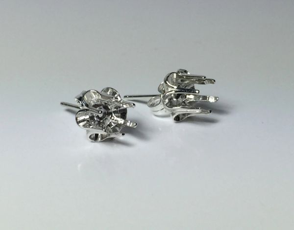 Two Sterling Silver Round Buttercup Style Pre-Notched Earring Settings (2-5.5mm)