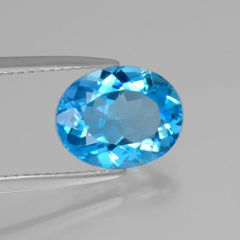 OVAL FACETED AAA BRIGHT (NATURAL) SWISS BLUE TOPAZ (5x3-20x15mm)