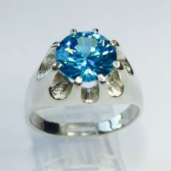 Sterling Silver Mens Genuine 10mm Round Aquamarine CZ Heavy Gypsy Style Ring Size 7-14
