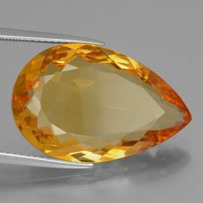 PEAR FACETED AAA BRIGHT GOLDEN (NATURAL) CITRINE (6x4-18x13mm)