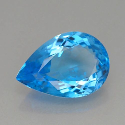 PEAR FACETED AAA BRIGHT (NATURAL) SWISS BLUE TOPAZ (7x5-20x15mm)