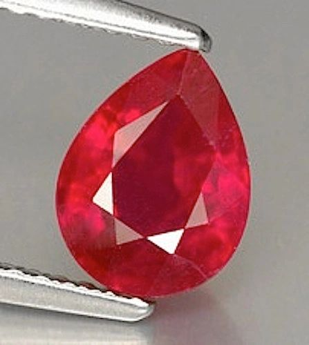 One Pear Faceted Bright Red Lab Created Ruby (5x20x15mm)