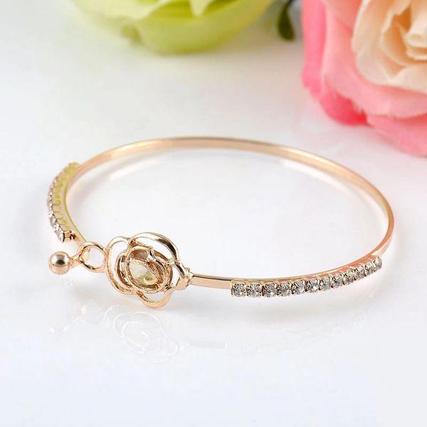 Crystal Rose Flower Bangle Gold Plated Cuff Bracelet