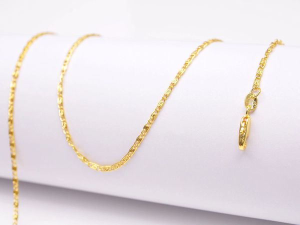 18k Yellow Gold Flat Chain With Lobster Claw Clasp: 24 Inches