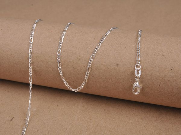 18 Inch 925 Silver Plated Figaro Chain: 1.5mm Wide
