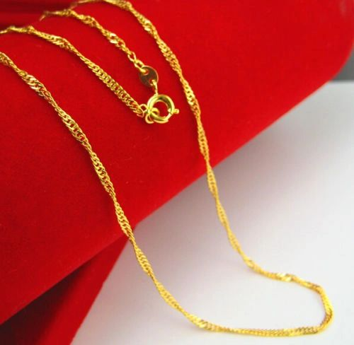 18k Yellow Gold Thin Link Chain With Spring Ring Clasp: 17.7 Inches