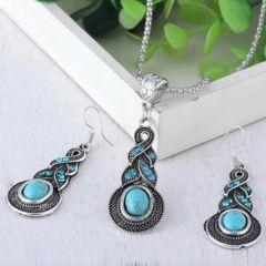 Elegant Imitation Turquoise Dangle Necklace & Earring Set