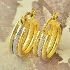 Yellow & White Gold Filled Round Vintage Small Hoop Earrings