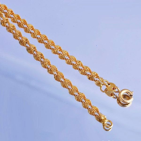 Women's Yellow Gold FIlled Water Wave Chain 17""