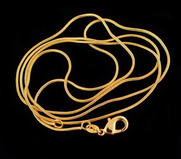 "22"" 1.2mm Wide Yellow Gold Filled Snake Chain With Lobster Claw Ring Clasp"