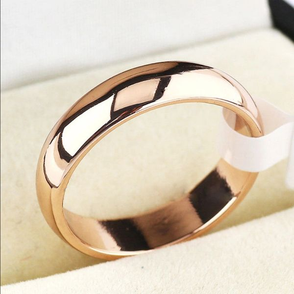 4mm Polished Rose Gold Plated Band Size11