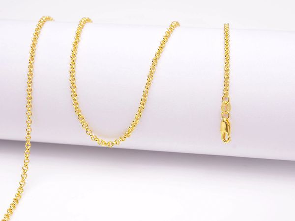 Yellow Gold Filled Small Chain Link Necklace With Lobster Claw Clasp: 20 Inches