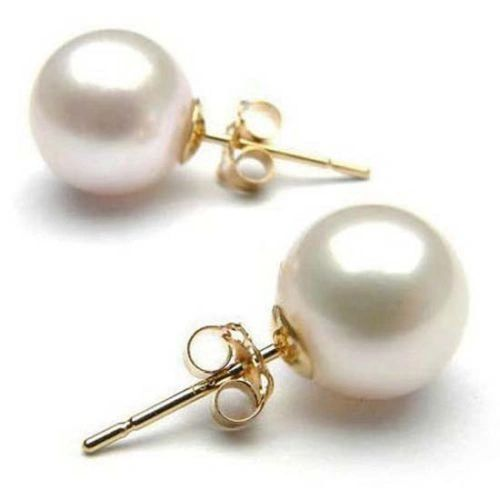 Women's 9kt Yellow Gold Plated Stud Earrings With White Imitation Pearl