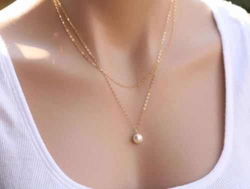 Very Pretty Imitation Pearl Double Strand Necklace
