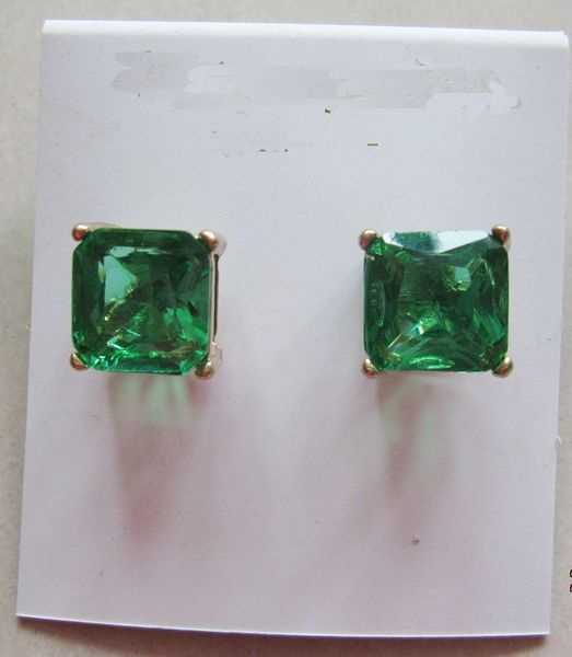 12x12mm Bright Green Crystal Square Stud Earrings