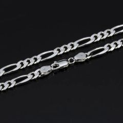 """Silver Plated 16"""", 20"""" & 30"""" Figaro Chain With Lobster Claw Clasp"""