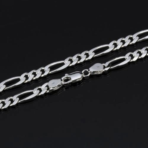 "Silver Plated 16"", 20"" & 30"" Figaro Chain With Lobster Claw Clasp"
