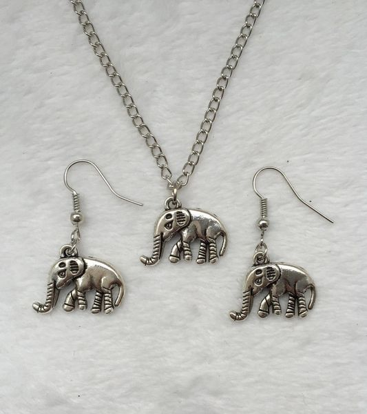Set of Vintage Silver Plated Elephant Pendant Necklace & Earrings