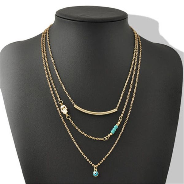 3 Layer Chain Hamsa Fatima Hand Evil Eye Imitation Turquoise Choker Necklace