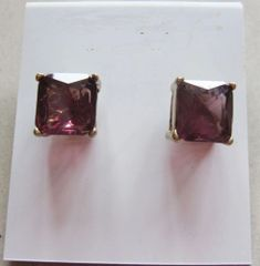 12x12mm Bright Purple Crystal Square Stud Earrings