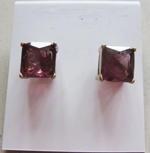 12x12mm Bright Purple Crystal Square Stud Earrings