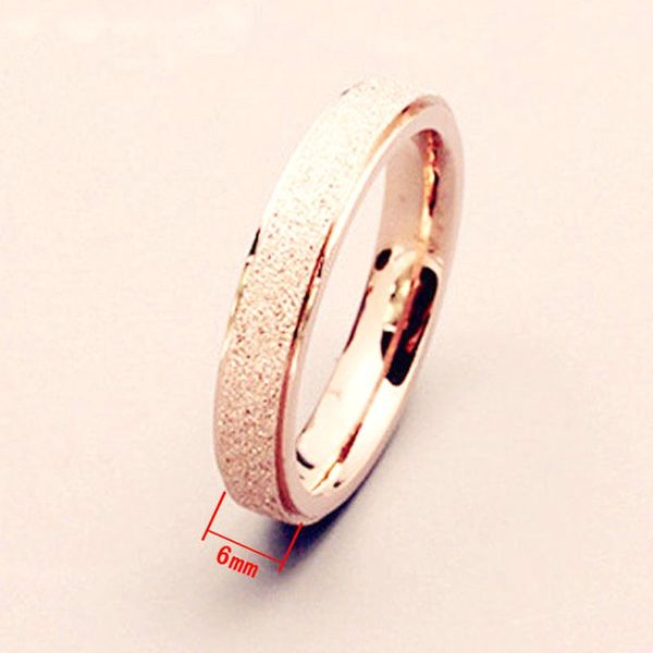 6mm Frosted Rose Gold Plated Band