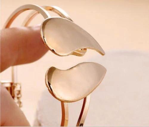 Golden Alloy Heart Bangle Bracelet
