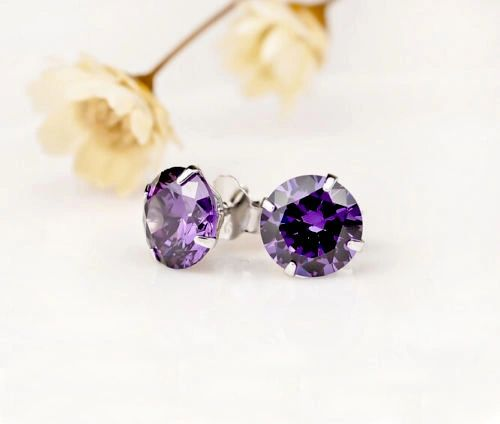 18k White Gold Plated Purple Swarovski 6mm Round Stud Earrings