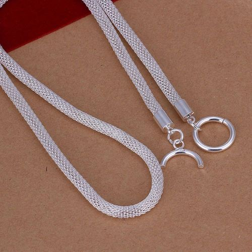 20 Inch 925 Silver Plated Geometric Chain: 4mm Wide