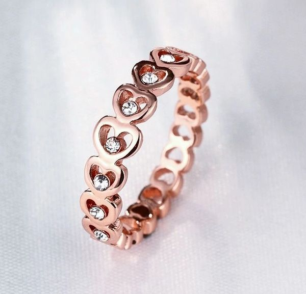 Han Edition Polished Rose Gold Plated Heart Ring Size 6