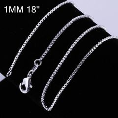 "Top Quality Silver Plated 24"" Box Snake Chain with Crab Claw Clasp"