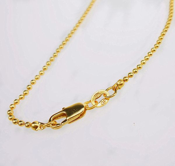 """18kt Yellow Gold Filled 16"""" Beaded Chain Necklace With Lobster Claw Clasp"""