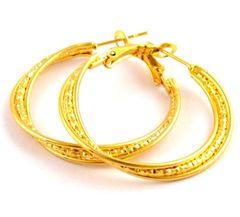 14kt Yellow Gold Filled Fancy (29mm) Hoop Earrings