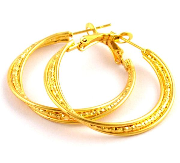 14kt Yellow Gold Filled Fancy (29mm) Hoop Earrings