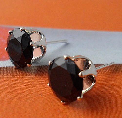 6mm Round Black Crystal Stud Earrings