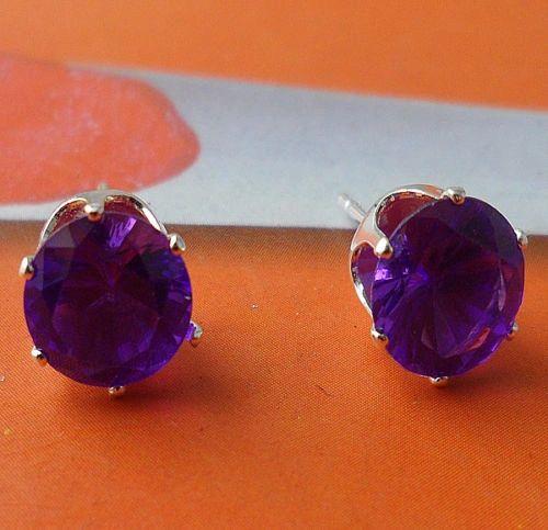 6mm Round Purple Crystal Stud Earrings