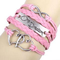 Antique Silver Infinity Double Heart Charm Leather Wrap Bracelet