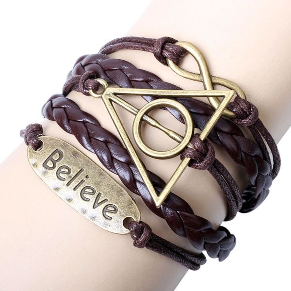 Antique Silver Infinity Charm Leather Wrap Bracelet