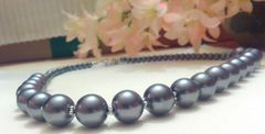 Grey Glass Imitation Pearl Beaded Necklace With Bali Style Toggle Clasp