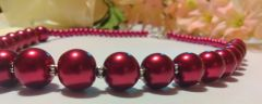 Cranbery Glass Imitation Pearl Beaded Necklace With Flower Style Toggle Clasp