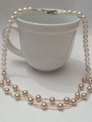 Double Strands Of Creamy White and Golden Brown Imitation Pearl Beaded Necklace with Antique Ornate Toggle Clasp