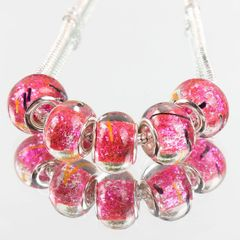 5 Pieces Silver Plated Murano Lampwork Bright Sparkle & Rose Bead Collection