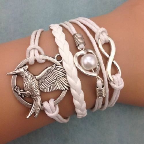 Infinity Eagle Heart Pearl Corded & Leather Wrap Bracelet