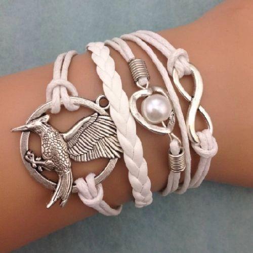Infinity Eagle Heart Pearl Corded & Leather Wrap Bracelet