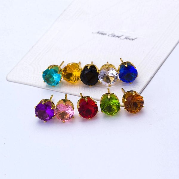 8mm Round Clear CZ Anti-Allergy Golden Alloy Stud Earrings