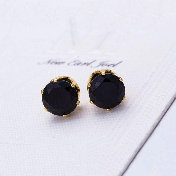 8mm Round Black CZ Anti-Allergy Golden Alloy Stud Earrings