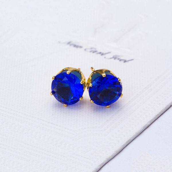 8mm Round Blue CZ Anti-Allergy Golden Alloy Stud Earrings