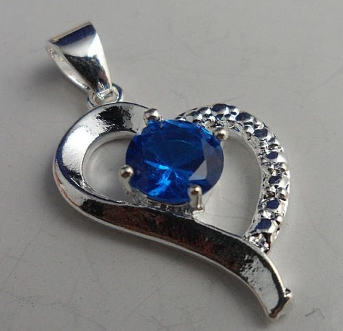 Fancy Silver 6mm Round Bright Blue CZ Pendant (Chain Not Included)