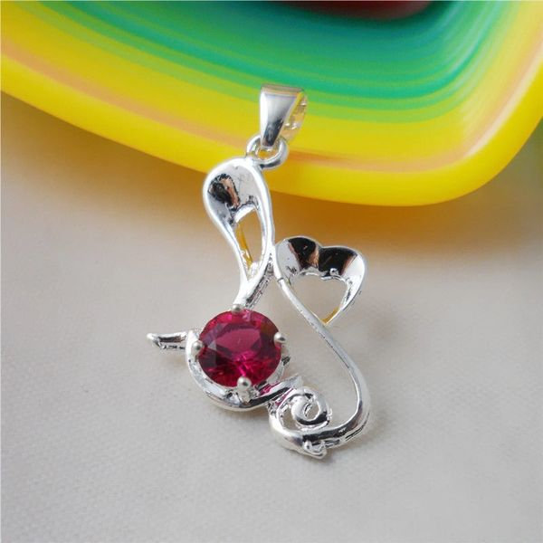 Fancy Silver 6mm Round Bright Lab Ruby Pendant (Chain Not Included)
